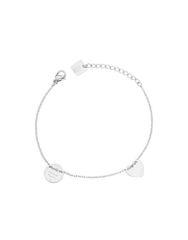 bracelet zag acier coeur et pastille-boutique dizuit